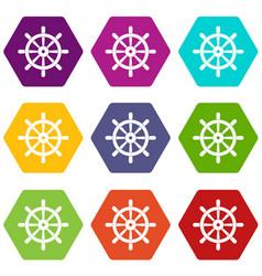 wooden ship wheel icon set color hexahedron vector image vector image
