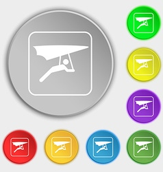 Hang-gliding icon sign symbol on eight flat vector