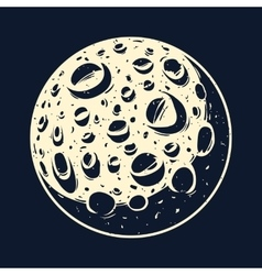 The moon in the black sky vector