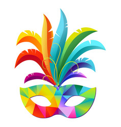 Colorful carnival party mask with feathers vector