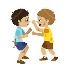 Two bad boys fighting part of bad kids behavior vector