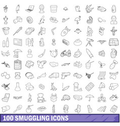 100 smuggling icons set outline style vector