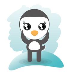 Cute penguin animal wildlife vector