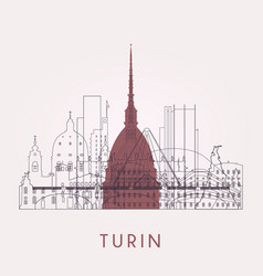 outline turin skyline with landmarks vector image