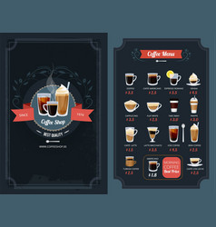 Coffee menu with different types cappuccino vector