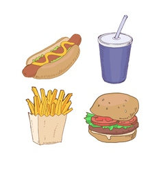 Drawn fast food vector