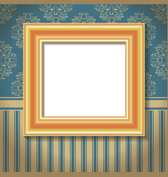 golden empty frame on the wall vector image