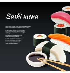 Sushi on black background vector