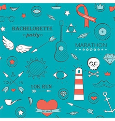 Doodle seamless hipster pattern over turquoise vector