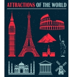 Set of icons of travel and landmarks vector