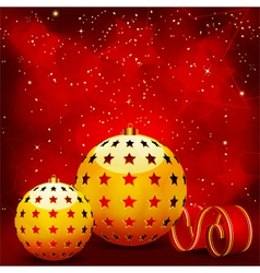 gold christmas baubles vector image