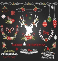 Chalkboard merry christmas flowers deer vector