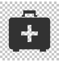 Medical first aid box sign dark gray icon on vector