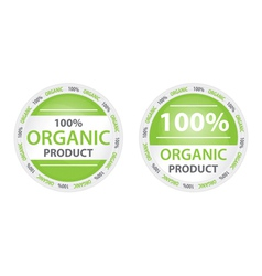 100 organic product label in two versions vector