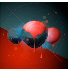 Abstract poster with polygonal spheres vector image