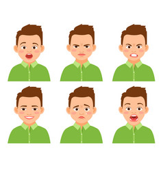 boy face expression set vector image vector image