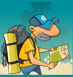 cartoon male tourist with backpack looking vector image