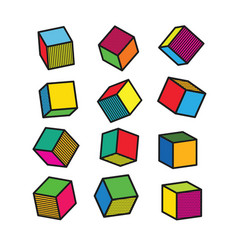 colorful 3d cube in pop art style vector image