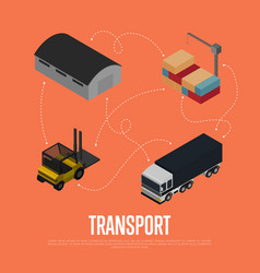 Commercial cargo transport isometric concept vector