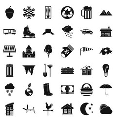 Country life icons set simple style vector