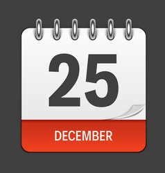 december 25 calendar daily icon vector image vector image