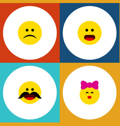 Flat icon gesture set of caress cheerful sad and vector