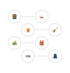 flat icons caravan ship lifesaver and other vector image