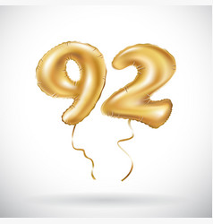 golden number 92 ninety two metallic balloon vector image