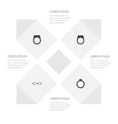 icon accessories set of circle geek gemstone and vector image vector image