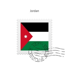 Jordan flag postage stamp vector