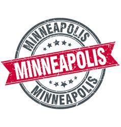 Minneapolis red round grunge vintage ribbon stamp vector