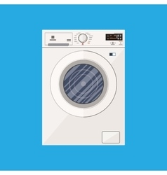 Modern white washing machine in flat style vector image vector image