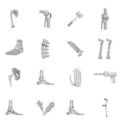Orthopedic and spine icons set monochrome vector
