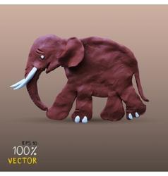 Plasticine textured elephant vector image