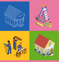 renovation isometric concept icons set vector image