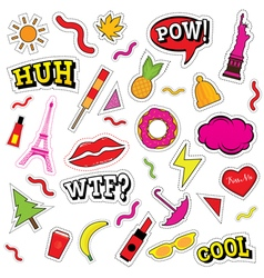 Set of fashion patch badges vector