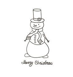 snowman hand drawn vector image vector image