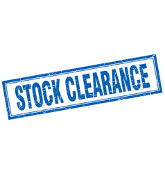 Stock clearance blue grunge square stamp on white vector