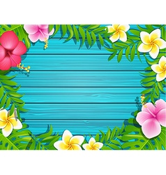 Summer frame on wood background vector image