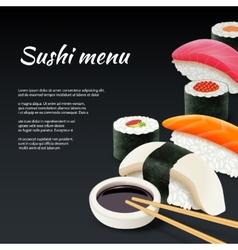 Sushi on black background vector