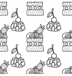 sweet dessert black and white vector image vector image