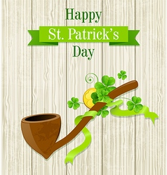 Tobacco pipe and clover leaves vector