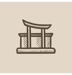Torii gate sketch icon vector