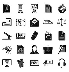 Work paper icons set simple style vector