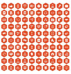 100 discussion icons hexagon orange vector