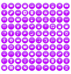 100 railway icons set purple vector