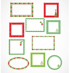 Christmas frames and labales vector