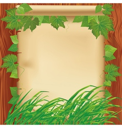 Nature background with leaves grass and paper vector