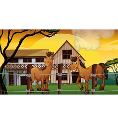 A farm with two horses vector