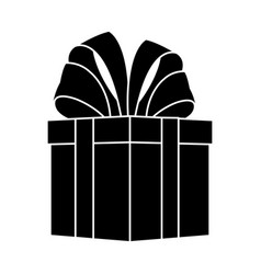 Giftbox with big bow on top icon image vector